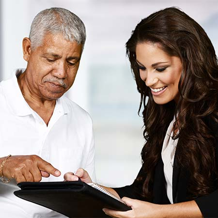 Licensed auto insurance agent with a client